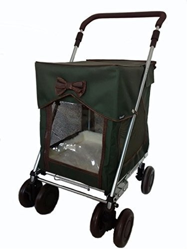 Carrier Dog Trolley with Wheels in Country Carriage Green Petmobil by Sholley Pram Transporter Folding Strong and Stable Pet Carriage Pushchair Dog Stroller LARGE