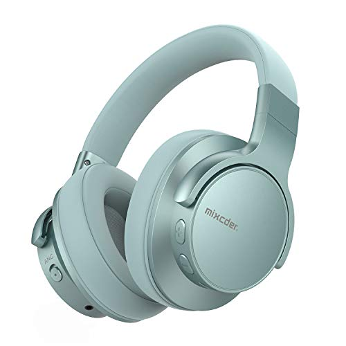 Mixcder E7 [Upgraded] Active Noise Cancelling Wireless Headphones, Bluetooth 5.0 Headphones Over Ear Headsets with Mic, Hi-Fi Deep Bass, Quick Charge, 30H Playtime for Travel Work TV Phone -Mint Green