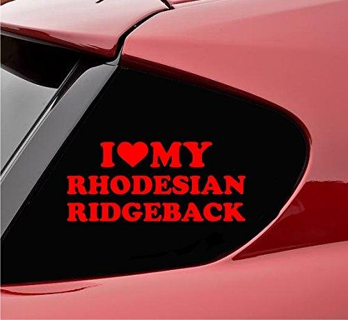 (Slap-Art I Heart My Rhodesian Ridgeback Dog pet Love Vinyl Decal Sticker (Red))