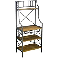 Furniture HotSpot - Bakers Rack with Shelves/ Sideboard – Antique Gray w/ Dark Distressed Pine - 29 W x 17.25 D x 63.75 H