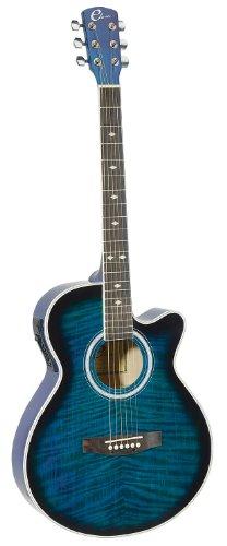 Eleca Guitars DAG-8CEQ-BLS Quilted Top, Mini Jumbo, Acoustic Electric (Blue Burst Acoustic Guitar)