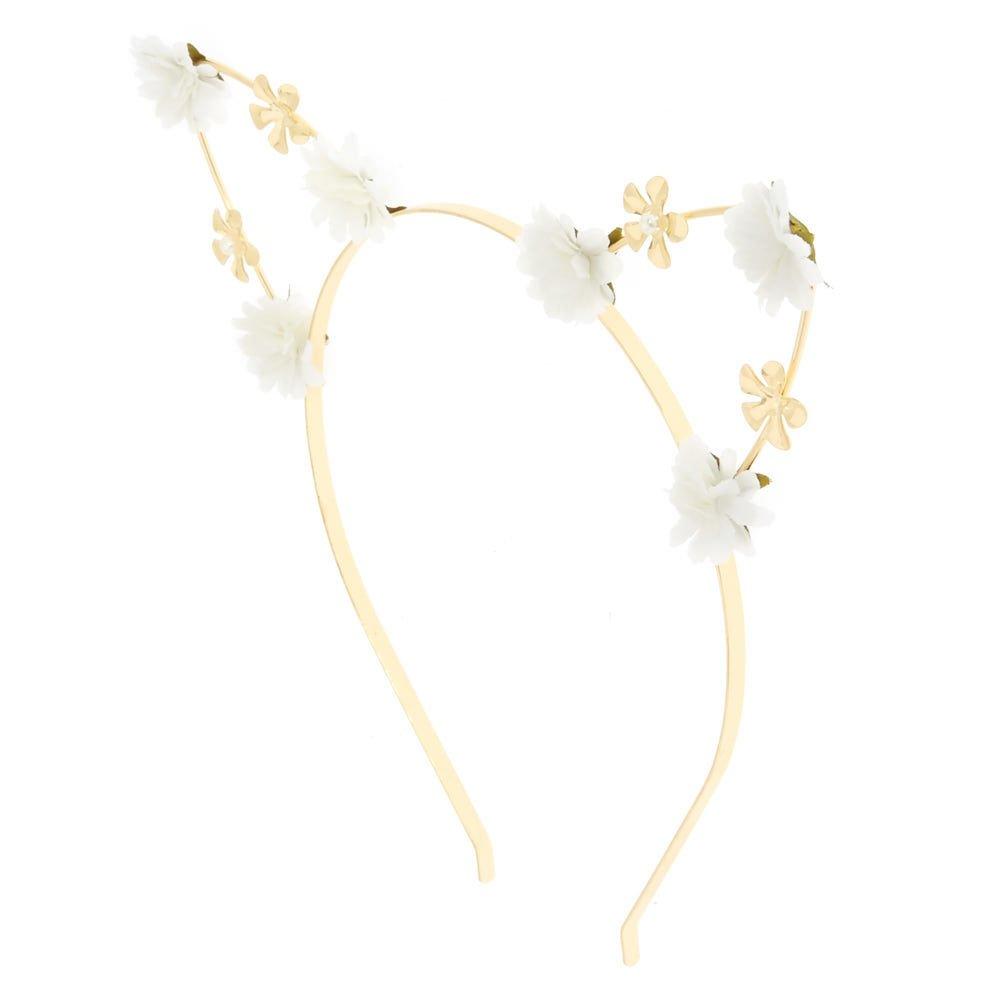 Claires Girls White Petal Cat Ears Headband