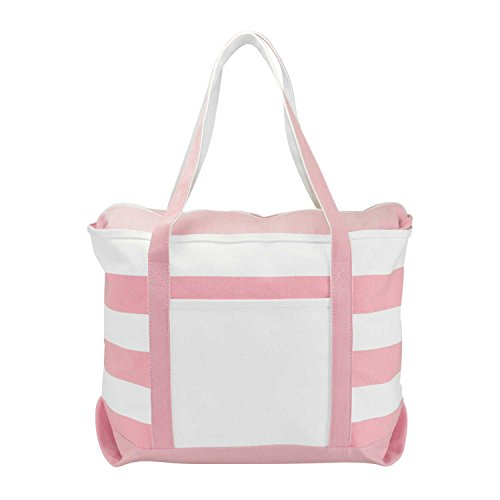 DALIX Striped Boat Bag Premium Cotton Canvas Tote in Pink -
