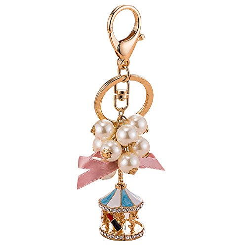 New Exquisite Pearl String Carousel Key Chain Girls Bag Car StrapKeyring Heavy Duty Car Keychain for Men and Women Jewelry Accessories