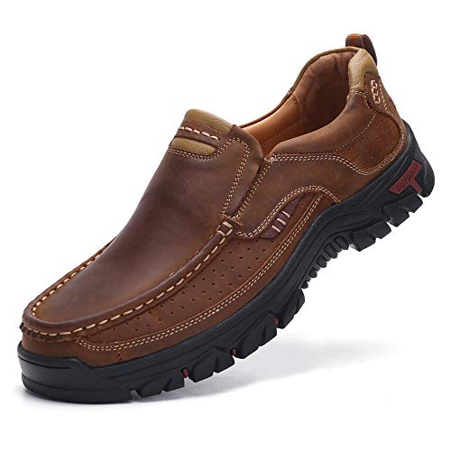 VENSHINE Mens Walking Shoes Leather Lightweight Breathable Casual Slip On Loafers (10.5, Light Brown)