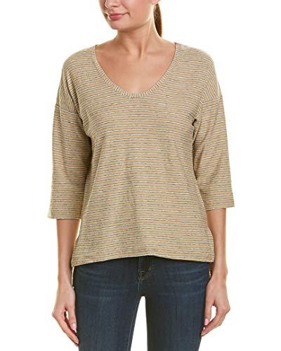 James Perse Womens 3/4-Sleeve Linen-Blend T-Shirt, 4, Beige ()