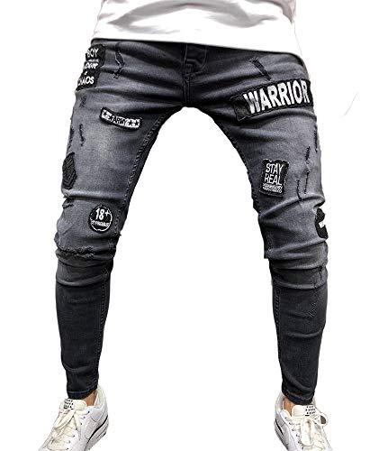 Pantaloni Mens Skinny Adesivi Buco Grigio Jeans Stretchy Badge Denim Hibasing Slim nIXqdX