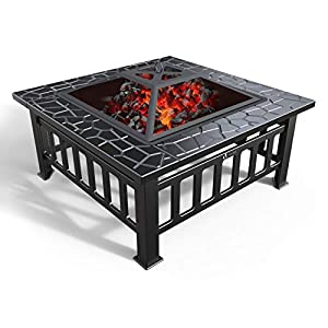VOUNOT Brasero Exterior para Jardín y Terraza, 3 en 1 Metal Fire Pit, Pozo de Fuego con Barbacoa, 81 x 81 x 45 cm 41QtmBzleaL