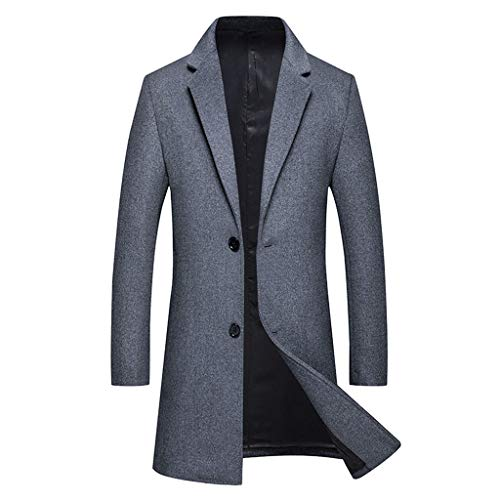 GREFER-Mens Stylish Wool Blend Double Breasted Long Pea Coat High Grade Temperament Business Trench Jacket Gray