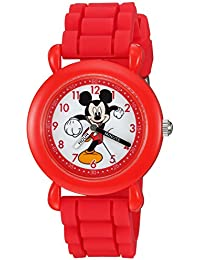 Boy's 'Mickey Mouse' Quartz Plastic and Silicone Casual Watch, Color:Red (Model: WDS000013)