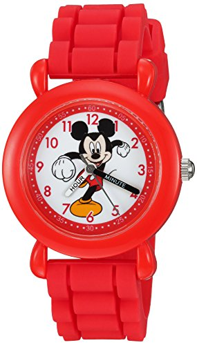 Disney Boy's 'Mickey Mouse' Quartz Plastic and Silicone Casual Watch, Color:Red (Model: WDS000013)