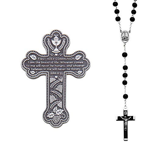 Abbey CA Gift Bread Silver Tone and Black 6 inch Metal First Communion Wall Cross and - Tone Accent Silver Metal