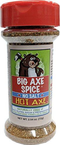 Big Axe Spice HOT AXE - Sodium Free Herb Seasoning Spice Blend/FREE of Salt, Sugar, Gluten and Preservatives ~ Vegetarian Vegan Paleo Kosher & Halal Friendly ()