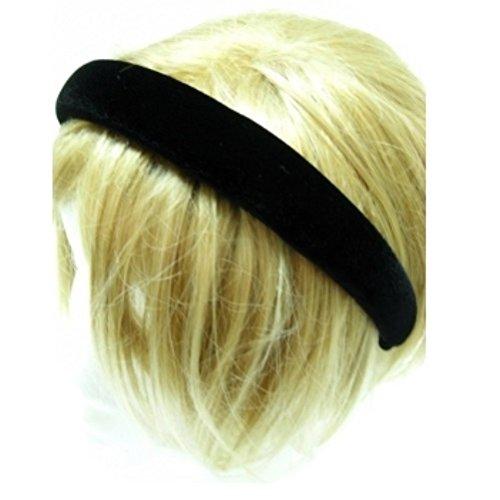 1 Wide by Pritties Accessories Black Velvet Alice Hair Band Headband 2.5cm