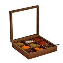 ExclusiveLane Spice Box With Spoon In Sheesham Wood (9 Partitions) -Spice Box Indian /Containers /Jars /Storage /Rack /Holder /Masala Dabba /Organizer