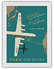 Fly to America and Okinawa by Deluxe DC-6B - Japan Airlines - Route Map - Vintage Airline Travel Poster - Premium Washi Unyru Rice Paper Art Print 12in x 16in