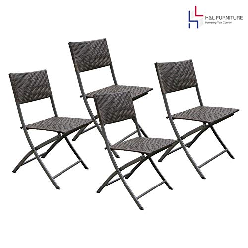 (H&L Patio Resin Rattan Steel Folding Bistro Set, Parma Style, All Weather Resistant Resin Wicker, 3PCS/5PCS Set of Foldable Table and Chairs, Color Espresso Brown, 1 Year Warranty (4 Chairs Set))