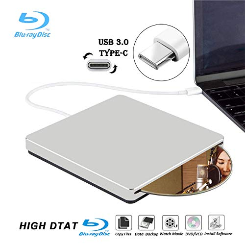 External Blu Ray DVD Drive Burner Player USB3.0 Type-C Portable Slim Automatic slot-loading CD/DVD-RAM/BD-ROM Superdrive +/- RW Rewriter/Reader with High Speed Data for Laptop PC Windows Mac - Ram High Speed