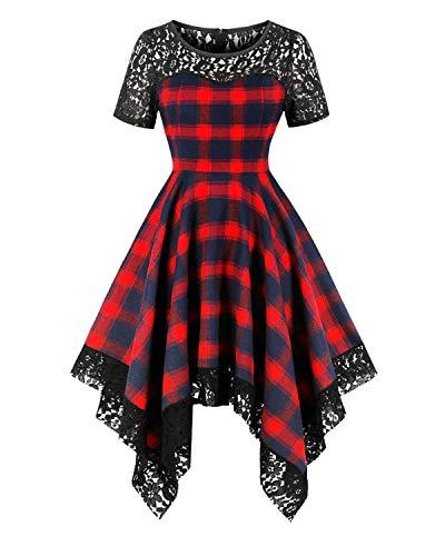 (ZAFUL Women's 1950s Vintage Short Sleeve Round Neck Plaid Lace Patchwork Swing Dress(Lace Patch,2XL))