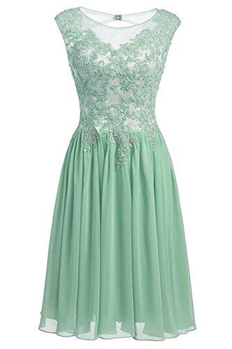 Cocktailkleider HochzeitsKleid Brautjungfern Damen Abendkleider Chiffon Elegant Kurz Carnivalprom Minze Kleider E08XvqWc