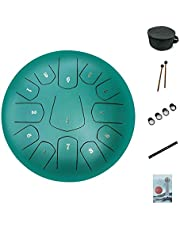 AS TEMAN HANDPAN,Steel Tongue Drum,12 inch 13 Notes Tongue Drum,Steel Drums Percussion Instrument with Bag, Music Book, Mallets, notes sticker,Finger Picks(matte green)