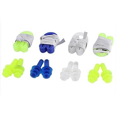 Amazon.com : eDealMax plástico de silicón Clip de la nariz tapones Para Los oídos Piscina Guardia Herramienta 4 Pares : Sports & Outdoors