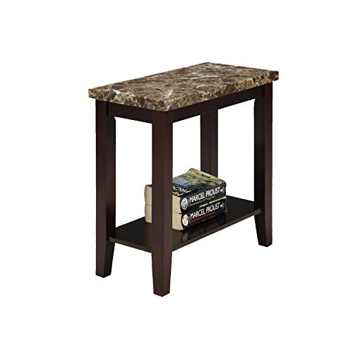 Contemporary Traditional End Table (Ore International 7221 Traditional Style Side/End Table, 24-Inch, Dark Espresso with Marble Print )