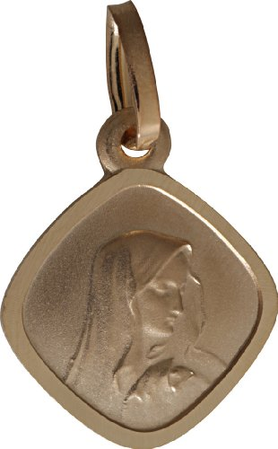 www.diamants-perles.com - Médaille Baptème - Médaille religieuse - Vierge - losange - Or Jaune - 750/1000