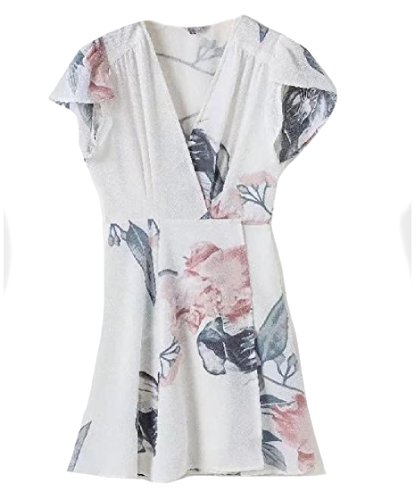 Women Accept White Mini Dress Size Plus Waist Coolred Floral Printed Holiday pf6Fw