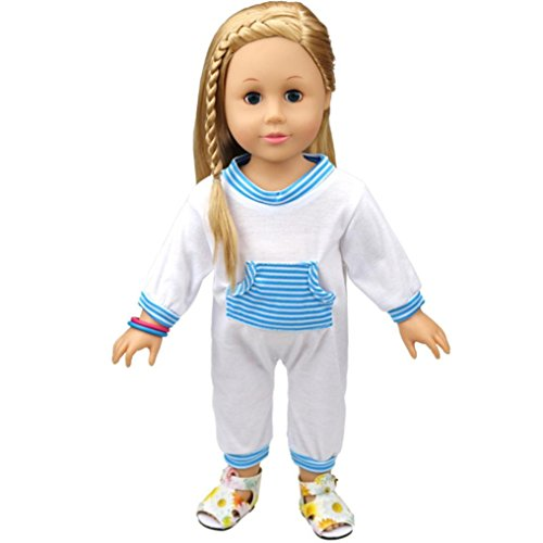 Price comparison product image Amiley Cute Baby Doll Clothes Kawaii Pajamas Outfit For 18 Inch Our Generation American Girl Doll Perfect Gift (Blue)