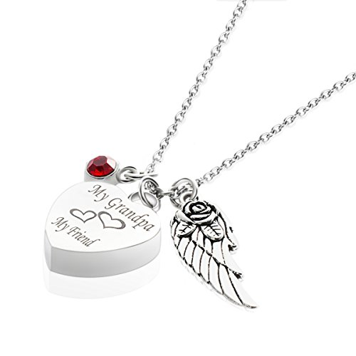 Cremation Jewelry for Ashes My Grandpa My Friend Wing Charm Birthstone Ruby Urns Necklace Memorial Keepsake Pendant - Moonstone Ruby