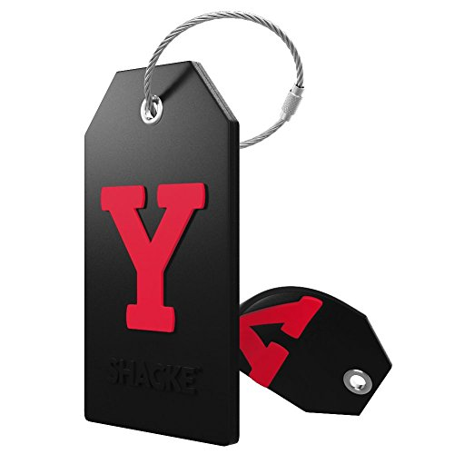 Steel Luggage Stainless Tags (Initial Luggage Tag with Full Privacy Cover and Stainless Steel Loop (Black) (Y))