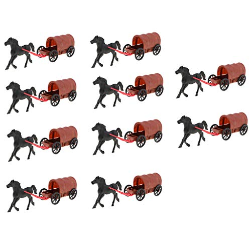 B Blesiya 10pcs Army Base Model Plastic Toy Soldiers Army Men Accessories- Horse & (Horse Carriage Model)