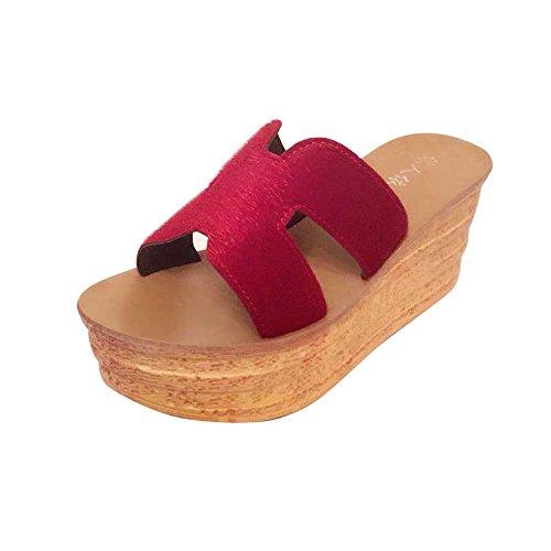 ZPPZZP Ms sandali pantofole spessa a tacco alto stile Coreano 39EU nero