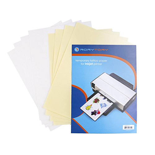 RoryTory 4 Pack Fake Temporary Tattoo Paper A4 Size (11.7 x 8.3 in) for Inkjet Printers - Easy DIY Custom Printable Water Transfer - Body Art for Kids & Adults Party Favors, Cosplay, Makeup, Halloween]()