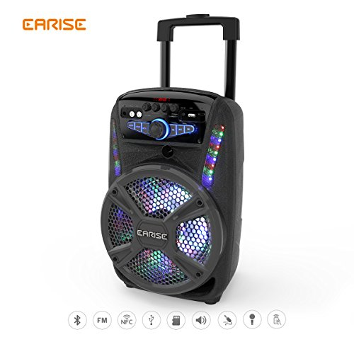 "EARISE V15-D/V16-D Audio Bluetooth PA System Portable Rechargeable Speaker with Wireless Microphone, Remote Control, FM Radio, AUX/TF/USB/NFC, Trolley Design 8"" /12"" (V16-D) by Earise"