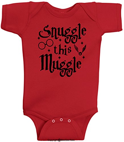 BeeGeeTees Snuggle This Muggle Wizard Wizard Romper Onesie (Newborn, Red)