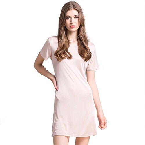 Zylioo 100% Mulberry Silk Knit Nightgown Long Short Sleeve Sleep Dress T Shirt Sleepwear