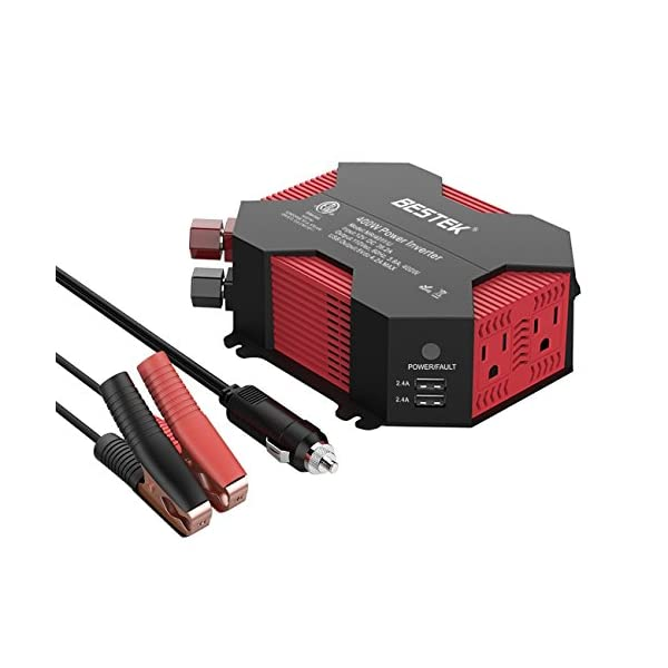 BESTEK 400W/500W Car Power Inverter DC 12V to AC 110V Car Inverter with 4 USB Charging Ports, Power Converter with 2 AC Outlets and Car Battery Clip Car Charger, Car Adapter (Upgrade Version) … …