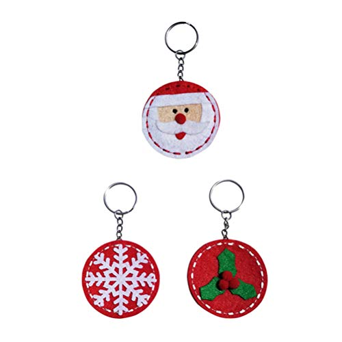 BESTOYARD Christmas Keychain Santa Tree Snowflake Keyring Bag Pendant Charm Hanging Decoration 3pcs ()