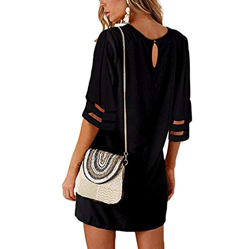 Witspace Women Casual Chiffon Panel Flare Solid Splice Mesh Party Club Beach Mini -