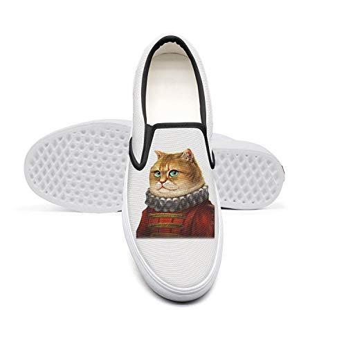 (Duke Cat Unisex Shoes Black Slipon Skate Cloth Sneakers )