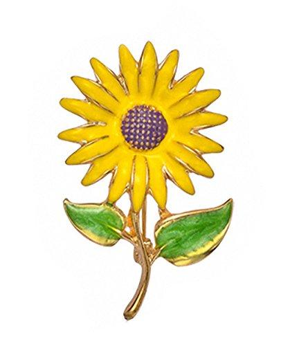 Womens Brooch Pin Sunflower Alloy Enamel Inlay