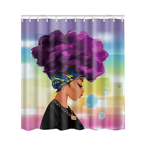 Artown Modern Girl Shower Curtain, Cool African American Cartoon Character Theme Pattern Side of Sexy Lady with Afro Purple Curls Hair, Fabric House Decor Set with 12 Free Metal Hooks, 72