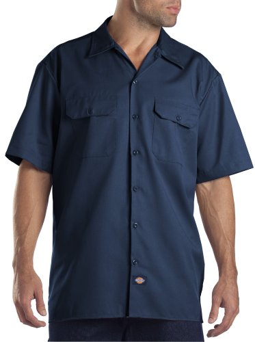 Dickies Men's Big and Tall Short Sleeve Work Shirt, Navy, Large