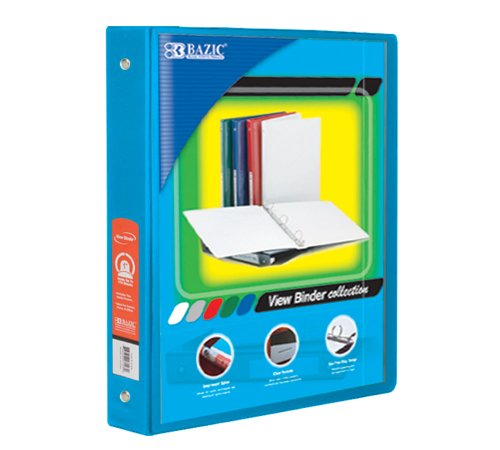 "BAZIC 1"" Cyan 3-Ring View Binder w/ 2-Pockets, Case of 12 (4125-12)"