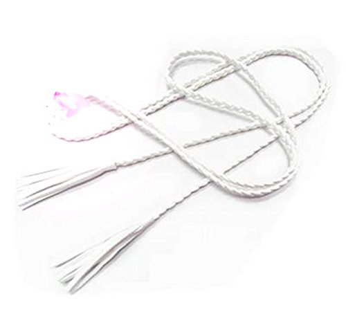 Rei Womens Belt - SHUNVFAN Chic Hand-Knit Long Braid Waist Belt With Tassel Party Belts & Cummerbunds For Women Girls white