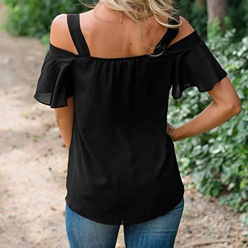 Haut Elgante Femme sans Blouse Cou Chic Large Mousseline Et Manches Loisir Schwarz Courtes Noir Sangle Shirt Bretelles Mode Tops V Tshirt Eaqgq