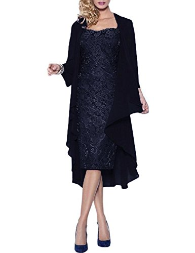 Neggcy Women's Short Lace Mother Of The Bride Dress With Jacket Formal Gowns Navy US24W