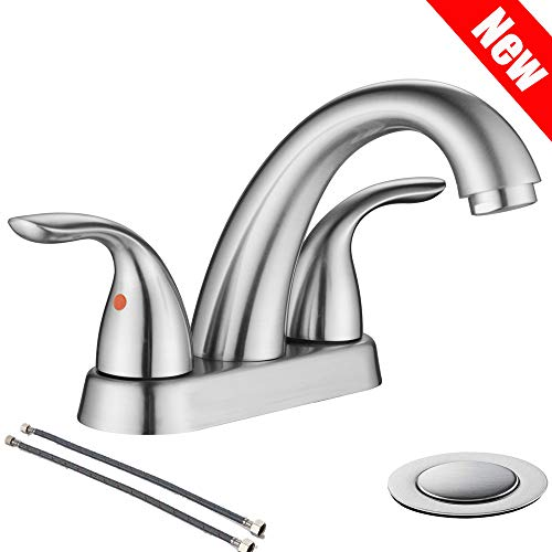 PHIESTINA Brushed Nickel 2 Handle Stainless Steel Bathroom Sink Faucet, Bathroom Faucet With Copper Pop Up Drain And Water Supply Lines, BF008-5-BN